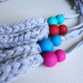 T-shirt yarn necklace, chunky necklace, fabric necklace, chunky knit,chunky yarn