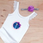 Size 4-6 Flutter Singlet - Elsa - Frozen - White - Princess