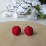 Red earrings, button earrings, fabric studs, flower earrings, sensitive ears