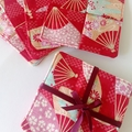 Wine glass coasters set of 4 -RED / Japanese fabric /  FREE SHIPPING