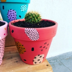 Mini Painted Pot with cactus - CORAL - pick up only