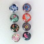 Cabochon beads, vintage Japanese print, X8