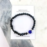 Mens Bracelet- black onyx, volcanic stone, glass and sterling silver on elastic