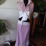 Flounced hem striped cotton wrap skirt