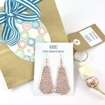 Gift set with handcrafted polymer clay earrings and keyring / bagcharm