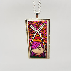 Headline Series : Ava Ink on Paper on Tile Necklace