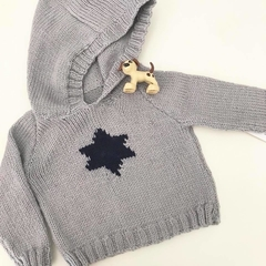 Grey hooded jumper with navy star - 3-9 months - pure wool Hand knitted