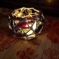 Glassy Arts Style Stained Glass Candle Holder - Red, Black, Clear