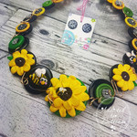 Sunshine Sunflower - Necklace Buttons and Polymer - Jewellery - Earrings