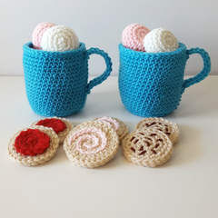 Hot Chocolate play set in blue - crochet play food