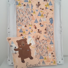 Baby quilt and cushion baby girl woodland