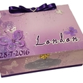 Purple Butterflies Keepsake Treasure Trinket Wooden Baby Box