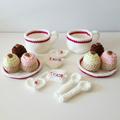 Afternoon tea set in magenta - crochet play food - imagination - let's pretend!