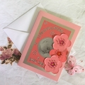 'Congratulations - A Baby Girl' Card on Coral Pink and Silver