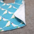 baby bib - cockatoos / organic cotton and hemp fleece