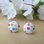 Stud earrings, fabric studs, button earrings, bright earrings, round earrings