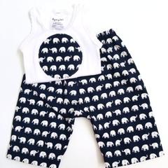 """Size 0000 - """"Elephant Walk"""" Harem Pants and Appliqued Singlet"""