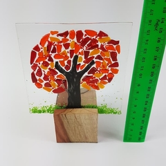 Fused glass candle screen with wooden candle holder, Orange red Autumn tree cand
