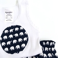 """Size 0000 """"Elephant Walk"""" Nappy Pants and Appliqued Singlet"""