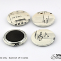 Sheet Music Magnets - Set of 4 - 25mm magnets, recycled sheet music
