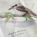 Kookaburra Tea Towel, Australian wildlife illustration, bird, linen fabric