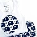 "Sizes  000  ""Elephants"" Nappy Pants & Appliqued Singlet"