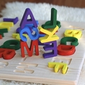 Wood Alphabet Letters puzzle with Letter Tracing board Waldorf Montessori