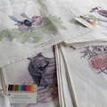 Kookaburra Tea Towel, Australian wildlife illustration, bird, linen fabric