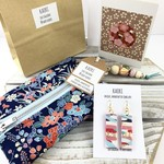 Gift set- handcrafted earrings, kimono fabric purse, keyring and  handmade card