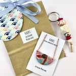 Gift set with handcrafted polymer clay pendant and keyring / bagcharm
