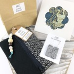 Gift set- handcrafted earrings, kimono fabric purse, keyring and handmade card