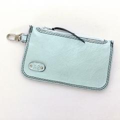 Elliot Leather Bus Pass/Coin Wallet: Pale Blue