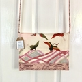 Handcrafted kimono fabric handbag with polymer clay embellishment
