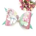 Unicorn Rainbow Flower Hair Bow , Birthday Bow