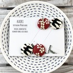 Pair of kimono fabric covered hair bands / ponytail elastic- black and red birds