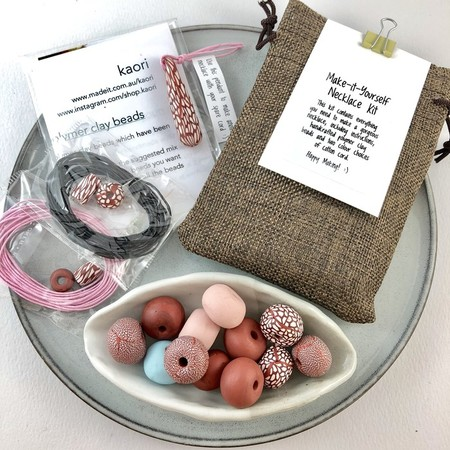Make it yourself necklace gift kit-handcrafted polymer clay beads- copper/white