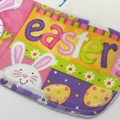 Easter Baby/Toddler Bib, Embroidered with Happy Easter ... Pink or Blue Writing.