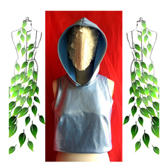 Silver blue hooded festive top. Size S and AU size 10. Free postage. Vegan