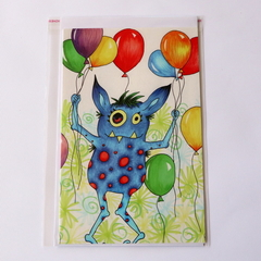 Lge Greeting Card - original artwork by Donna Linton- birthday monster, balloons