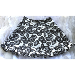 Plant Life. Size L. AU Size 14/16. Black & white knee length flared skirt. Vegan