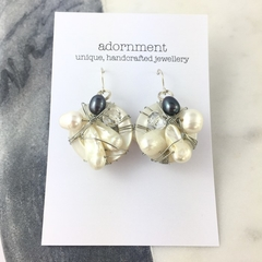 Pearl and Shell Cluster Earrings with Sterling Silver 925 Earring Hooks