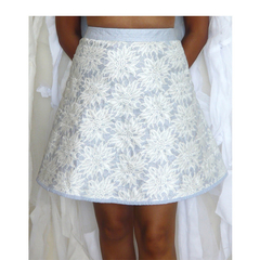 Flowers in the mist. Size XS. AU Size 6. White & Blue lace midi skirt. Vegan