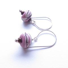 Swirl drop pink earrings