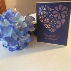 Female birthday card. Heart inlay birthday card. Free postage!
