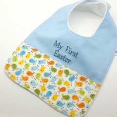 Easter Baby/Toddler Bib, Embroidered with My First Easter, Pink or Blue Writing.