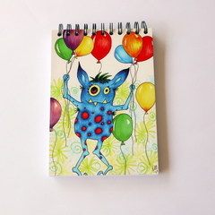 Sm Drawing / Sketch book - aprox 100 sheets- birthday party monster, balloons A5
