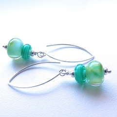 Leaf green glass and sterling silver dangle earrings