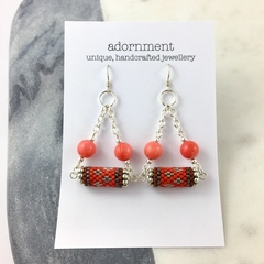 Statement Earrings with coral, woven beads and Sterling Silver Earring Hooks
