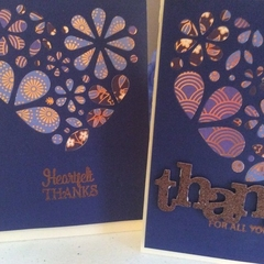 Thank you cards. Heart inlay thank you cards.Free postage!
