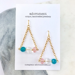 Crystal triangle geometric earrings with gold plated earring hooks